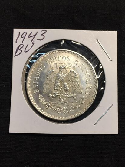 1943 Mexico 1 Peso Silver Foreign Coin