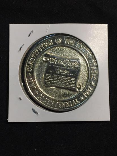 1 Ounce .999 Fine Silver Constitution Silver Bullion Round Coin