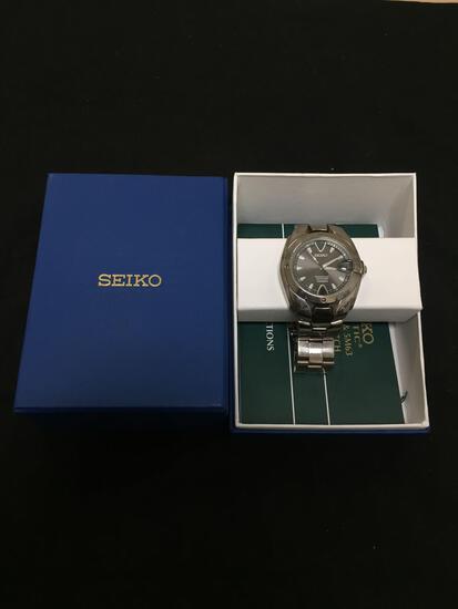 Seiko Designer Round 35mm Bezel Perpetual Calendar Titanium Series Stainless Steel Watch w/ Bracelet
