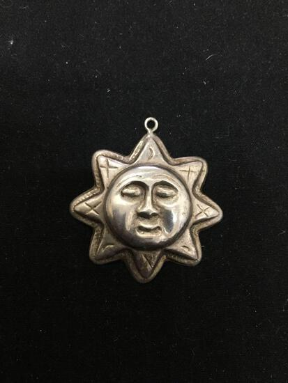 FAS Designer 30mm Diameter Constellation Stars & Moon Sterling Silver Sun god Pendant