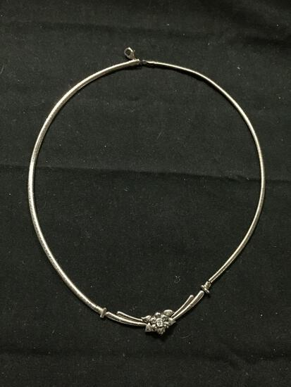 Omega Link 2.75mm Wide 18in Long Sterling Silver Necklace w/ Floral Detailed Feature & Round Faceted