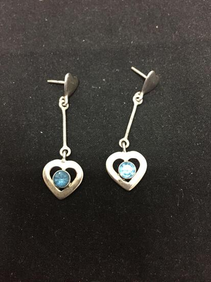 Heart Motif 43mm Long 13mm Wide Pair of Sterling Silver Dangle Earrings w/ Round Faceted 5mm Blue