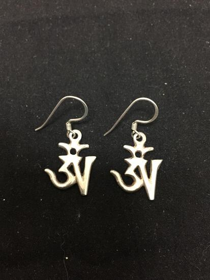 Pair of 22x17mm Sterling Silver Spiritual Symbol Themed Dangle Earrings