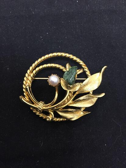 Sarah Covington Designer Round 38mm Leaf Motif Gold-Tone Fashion Brooch w/ Tumbled Jade & Pearl