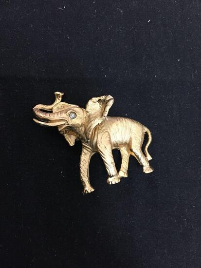 Napier Designer Gold-Tone 43x38mm Detailed CZ Accented Fashion Elephant Brooch