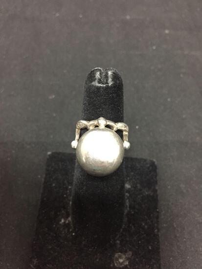 Sterling Silver Detailed Ring Band w/ Large 15mm Round Globe Center