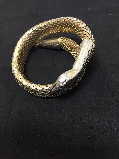 Whiting & Davis Co Designer 15mm Wide Gold-Tone Coiled Snake Design 3in Diameter Fashion Bracelet