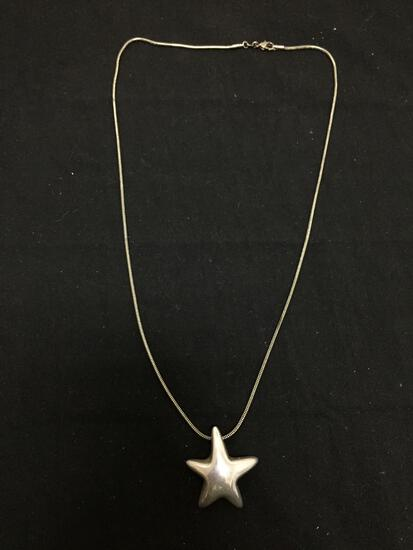 Airess Designer 35x32x8mm Puffy Star Sterling Silver Pendant w/ 24in Long Snake Chain