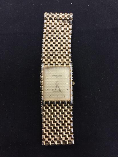 Wittnauer Designer Cosmopolitan Series 24x20mm Bezel Gold-Tone Stainless Steel Watch w/ Mesh Link