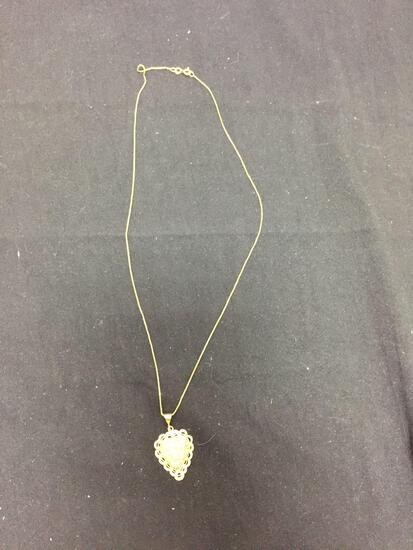 Ornate Filigree Decorated 27x22mm Signed Designer Gold-Tone Sterling Silver Heart Pendant w/ 20in