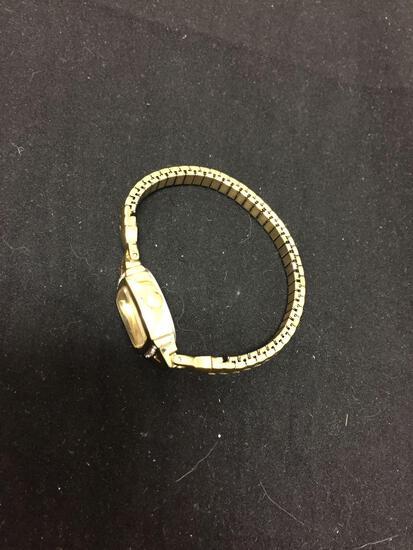 Timex Designer Rectangular 17x16mm Bezel w/ Rhinestone Accents Gold-Tone Stainless Steel Watch w/