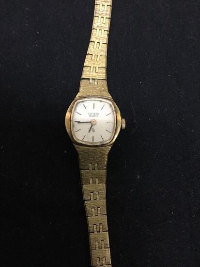 Citizen Designer Square 14x14mm Bezel Gold-Tone Stainless Steel Watch w/ Bracelet