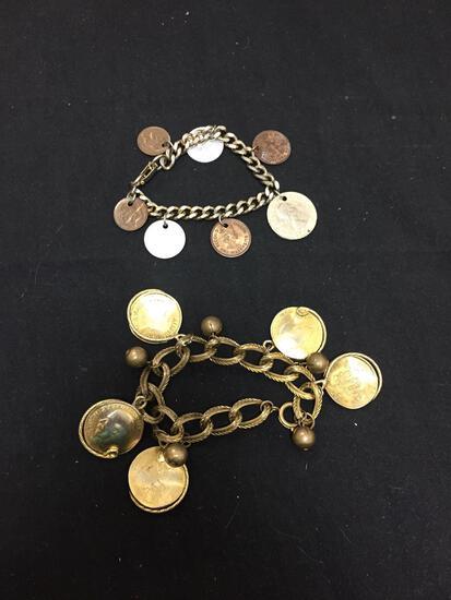 Lot of Two 8in Long Fashion Coin Motif Bracelets