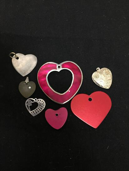 Lot of Various Size & Style Heart Motif Fashion Alloy Pendants