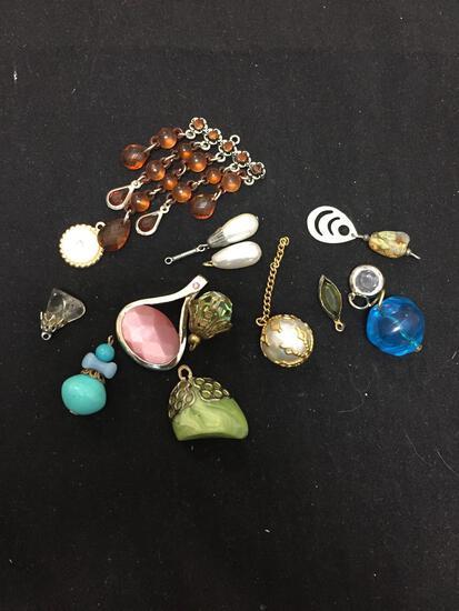 Lot of Various Size & Style Faux Gemstone Motif Fashion Alloy Pendants