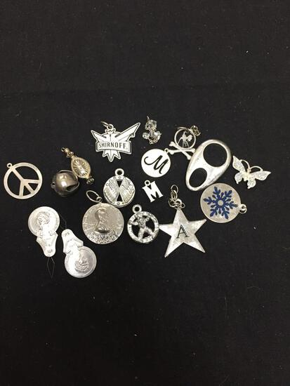 Lot of Various Size & Style Silver-Tone Fashion Alloy Pendants