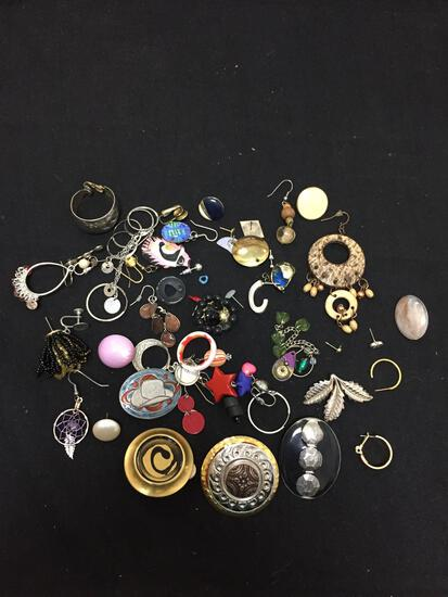 Lot of Various Size & Style Mismatched Single Earrings