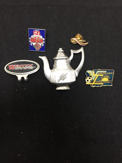 Lot of Five Various Shape & Styled Fashion Alloy Commemorative Pins