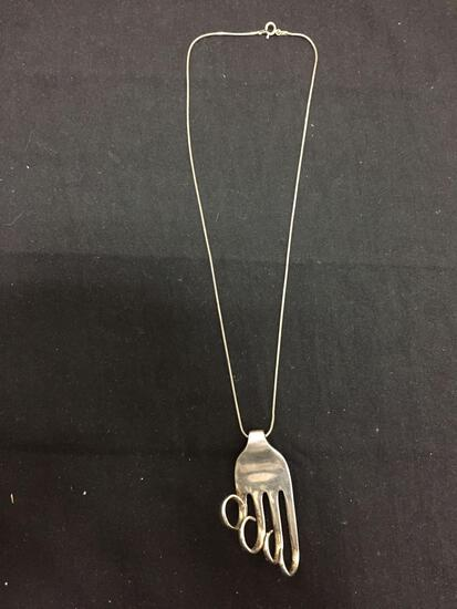 Handmade 58x25mm Graduating Curled Tines Sterling Silver Signed Designer Fork Pendant w/ 18in Long