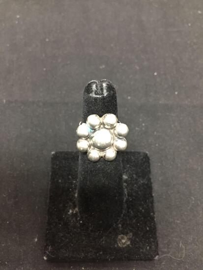 Round 20mm Diameter Bead Ball Cluster Floral Design Split Shank Sterling Silver Ring Band