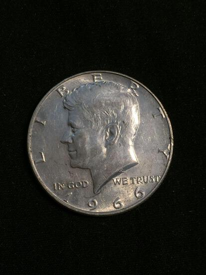 United States 1966 Kennedy Half Dollar - 40% Silver Coin - 0.147 ASW