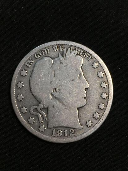 1912 United States Barber Half Dollar - RARE 90% Silver Coin - 0.361 ASW