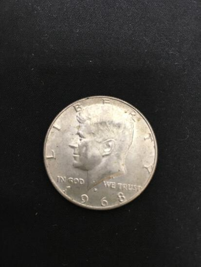 1968-D United States Kennedy Half Dollar - 40% Silver Coin - 0.147 ASW