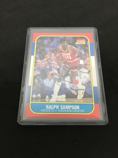 1986-87 Fleer #97 RALPH SAMPSON Rockets Hand Signed Autographed Basketball Card