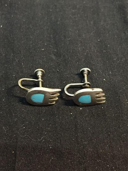 Old Pawn Native American Bear Claw Design Turquoise Inlaid 15x9mm Pair of Sterling Silver Screw back