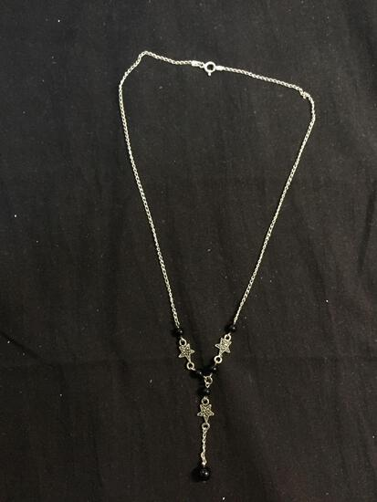 Italian Made Sterling Silver 18in Long Drop Necklace w/ Round Onyx Beads & Marcasite Accented Star