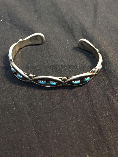 Old Pawn Mexico Style Criss-Cross Detailed 9mm Wide Turquoise Cabochon Accented Sterling Silver Cuff