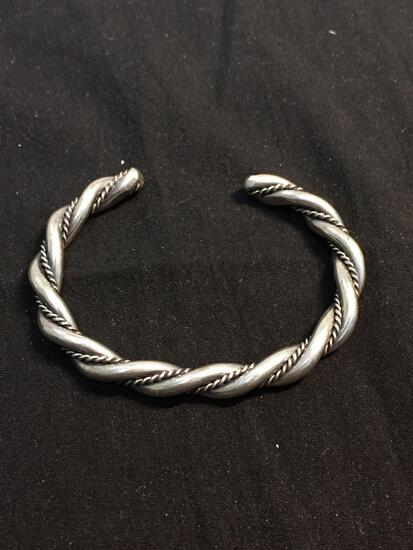 Braided High Polished & Rope Detailed Ribbons Handmade 6mm Wide 2.75in Diameter Sterling Silver Cuff