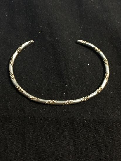 Braided High Polished & Rope Detailed Ribbons Handmade 2.5mm Wide 2.5in Diameter Sterling Silver