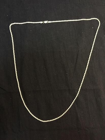 Rope Link 2.25mm Wide 30in Long Italian Made Sterling Silver Chain