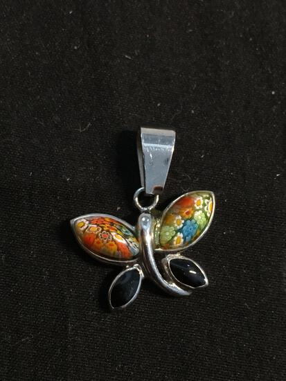 Colorful Fimo Decorated Resin Cabochon Accented & Black Enameled 20x15mm Butterfly Sterling Silver