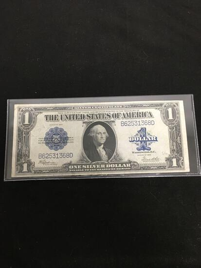 1923 United States Washington $1 Silver Certificate Horse Blanket Bill Currency Note From Estate