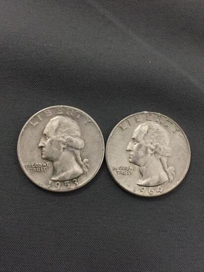 2 Count Lot of United States Washington Silver Quarters - 90% Silver Coins from Estate