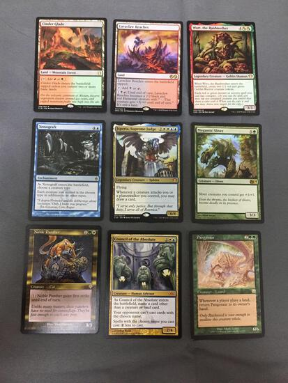 9 Count Lot of Magic the Gathering Gold Symbol Rare Cards from Collection - Unresearched