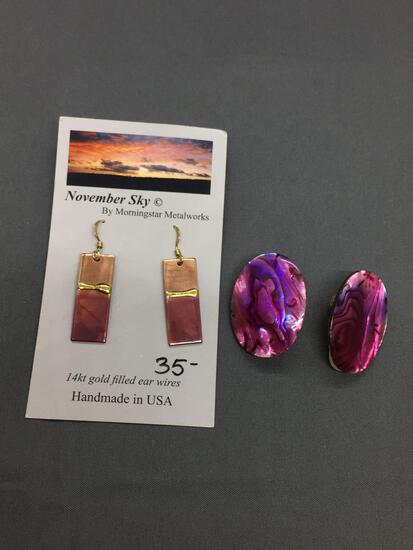 Lot of Two Purple Toned Fashion Jewelry, One Pair of Dyed Abalone Earrings & Handmade Pair of Dangle