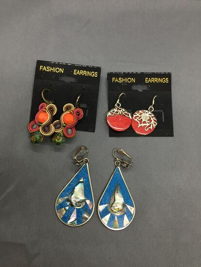 Lot of Three Various Size & Styled Pairs of Fashion Alloy Earrings, One w/ Abalone Inlay, One Red