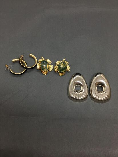 Lot of Three Various Size & Styled Pairs of Fashion Alloy Earrings, One Scallop Silver-Tone, One