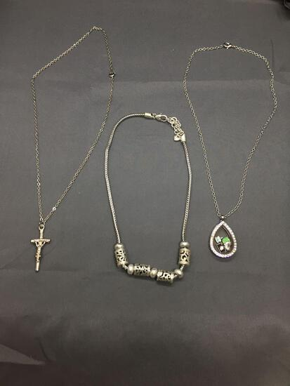 Lot of Three Silver-Tone Alloy Fashion Necklaces, One 16in Balinese Style, One 20in Cross Pendant &