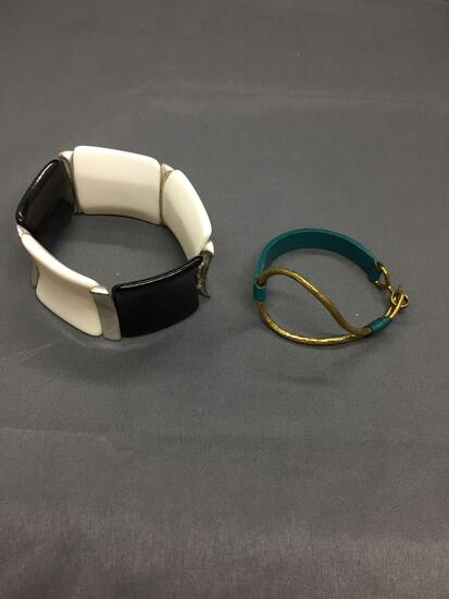 Lot of Two Fashion Bracelets, One Black & White 35mm Wide Brass w/ Dyed Blue Leather