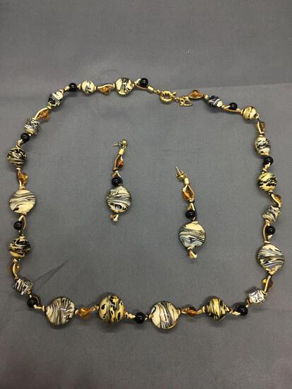 Lot of Two Matched Set Murano Glass Hand-Strung Beaded Fashion Jewelry, One 30in Long Necklace &