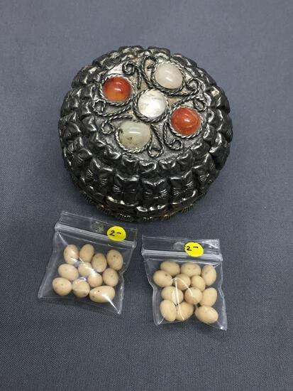 One Handmade East Indian Styled Silver-Tone Alloy 2in Diameter Pill Box & Two Bags of Beads