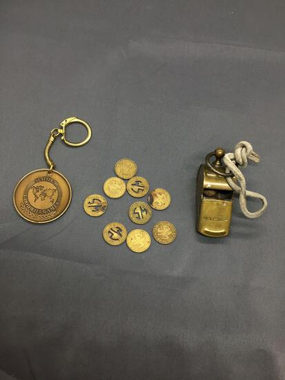 Lot of Brass Items, One Military Whistle, One Goodwill Games Keychain & Set of Coins
