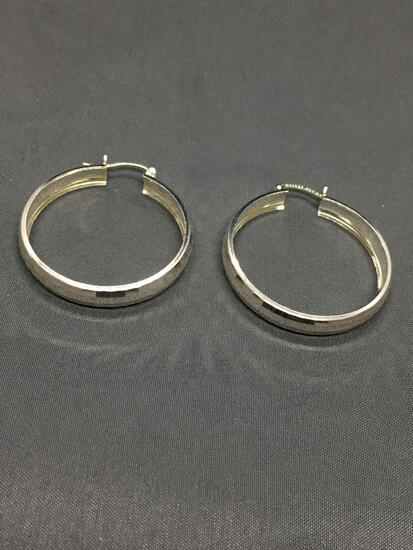 High Polished Faceted Finish 36mm Diameter 6mm Wide Signed Designer Pair of Sterling Silver Hoop
