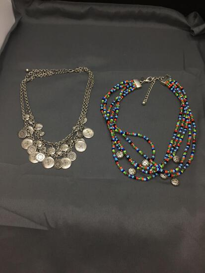 Lot of Two Chicos Designer Fashion Necklaces, One Multi-Strand & Various Colored Beaded 20in
