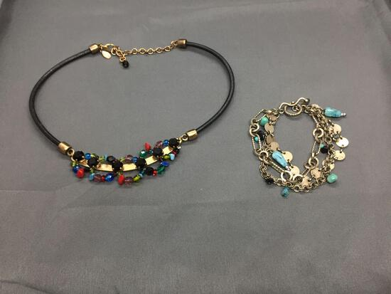 Lot of Two Chicos Designer Fashion Jewelry, One Multi-Colored Faux Gemstone Leather Cord 18in Long