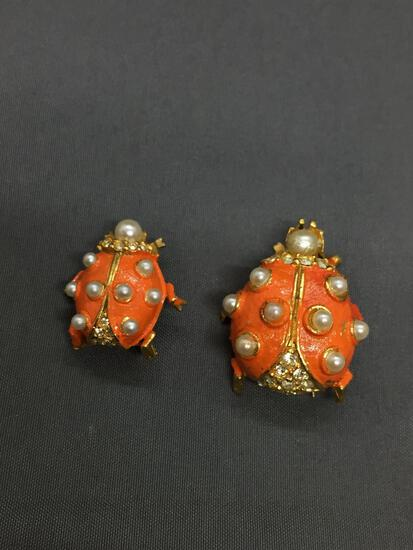 Lot of Two Matched Set Faux Pearl Accented & Enameled Ladybug Design Alloy Fashion Brooches, One